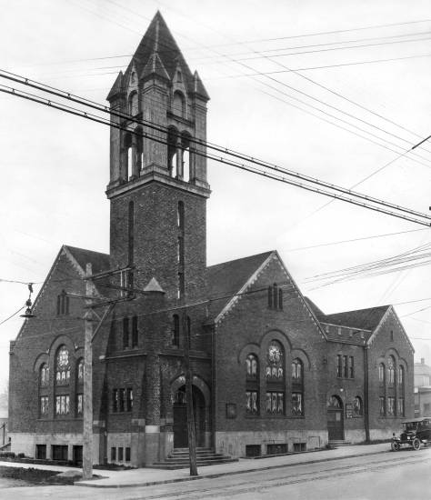 THEN: Built in 1910, Ballard's big brick church on the northwest corner of 20th Avenue NW and NW 63rd Street lost the top of its soaring tower following the earthquake of Nov. 12, 1939.