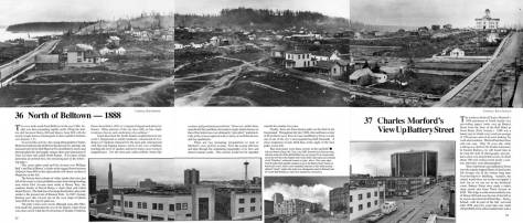A panorama of three photos taken by Charles Morford in 1887-88.  Someday we will narrow it down.  The photos were taken from the rear of the  Bell (or Bellview) hotel.  If you click the pan you should be able to read the text.  That's Queen Anne Hill on  most of horizo, and Battery Street leading east on the right with the Denny School (1884) at the northeast corner of 5th and Battery.
