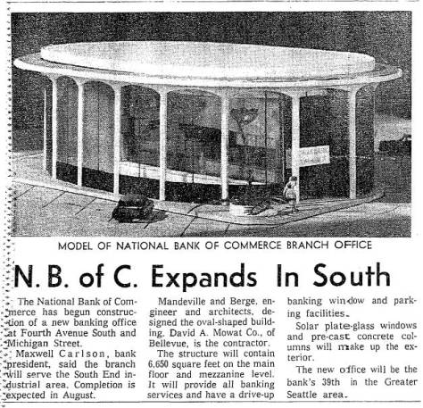 "A model for a National Bank of Commerce designed by Mandeville and Berge, architects for the ""Sinking Ship Garage."""
