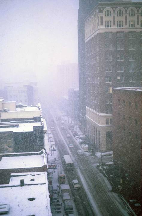 A lighter snow (that I do not remember) about a month later on January 27, 1969, again from the City Light Building.