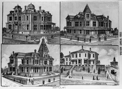 The West Shore magazine's montage of four grand homes built locally in the 1880s.  Clockwise from upper-left they are the homes of Stacy, Yesler, Leary and McNaught.