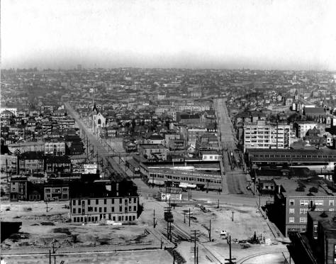 Looking east up Stewart and Olive from the New Washington Hotel at 2nd and Steward, ca. 1909.   Gethsemane Lutheran can be found left-of-center.