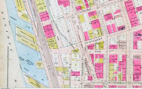 A detail of the Pike Place Market neighborhood lifted from the 1912 Baist Map.  Note the furniture warehouse, bottom-center, from which the look up Western showing three photos of it was captured.