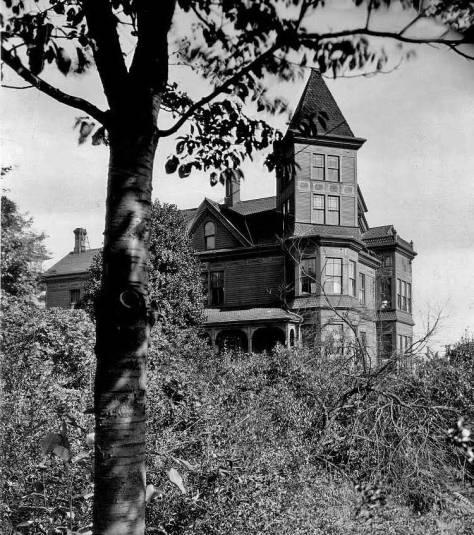 THEN: Constructed in 1885, the Alice and Clarence Bagley mansion was the first big home built on the south slope of Queen Anne Hill.  (Courtesy Lawton Gowey)