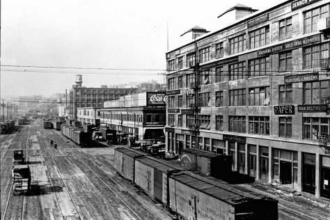 The Maritime Building on the right photographed from the Marion Street viaduct to Colman Dock.
