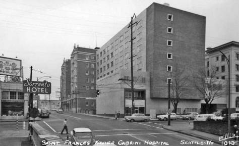 The modern west wing of the Cabrini Hospital seen from the Sorrento's circus-drive near its front door, which is now a outdoor dining patio when the weather allows.