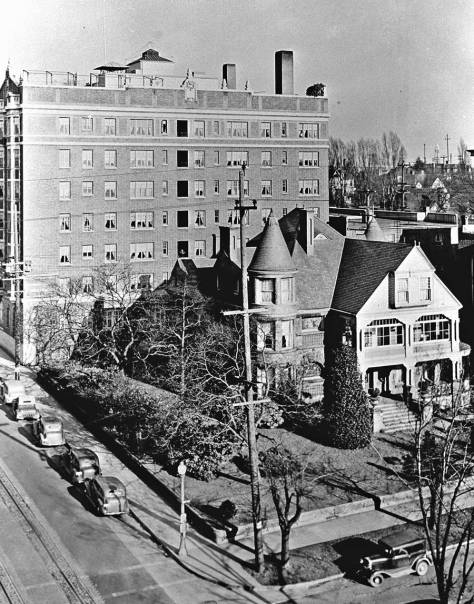 The Ranke Home with the Perry Hotel converted to the Saint Frances Xavier Cabrini Hospital behind it.