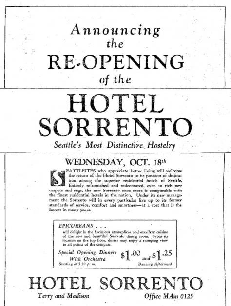 "From the same October issue, the hotel's own announcement of its re-opening.  ""Special Opening Dinners With Orchestra"" are advertised within the ad.  Directly below is a front door photo fo the popular Carey Band, which  was not necessarily the band playing there in the fall of 1933."