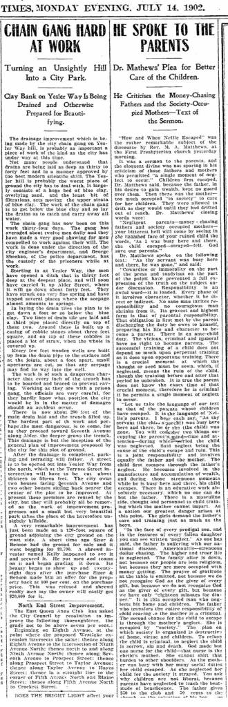 "(I Click this one TWICE to read it.) The Times report on the left for July 14, 1902, describes the elaborate public work undertaken in 1902 to stabilize the fluid dynamics of this ""Profanity Hill"" (or later ""Goat Hill"") part of First Hill that bulges west from it like a resting tourist."