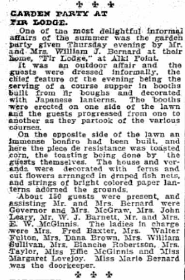 The earliest clip about Fir Lodge, the Bernard home, published in The Times on Aug. 19, 1906.