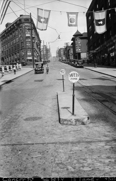 """Safety Island"" on Yesler Way, 1928."
