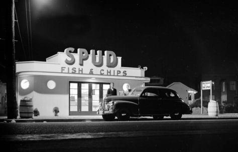 SPUD at night, ca. 1945.