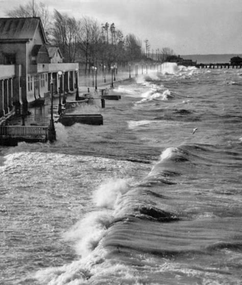 Beach and Bath House under storm.