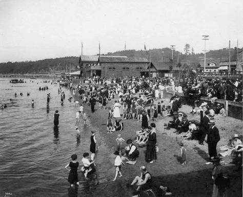 Alki Bath House looking northeast from the Alki Band Stand.