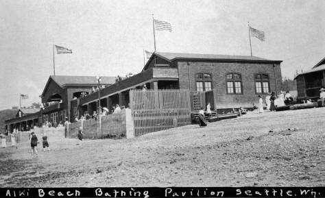 Bath House (aka Pavilion) from the beach at a low tide. The day may be hot, but it is also windy. (Courtesy, North Idaho Historical Museum)
