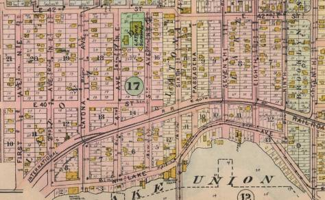 A detail from the 1908 Baist Real Estate Map, Latona before the railroad overpass above 6th Ave. and the trolleys rerouted for the 1909 AYP.