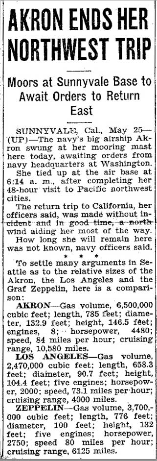 A California clip on the Akron's safe and speedy return after the round-trip to Puget Sound. Notice that the Akron outsizes the Zeppelin.
