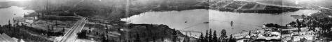 Thanks to Ron Edge for merging these several shots looking over Portage Bay from a tethered balloon held above the AYPE's Pay Streak carnival avenue in 1909. The balloon can be found on the right of the pan attached below. It looks northeast across Portage Bay to the AYP fair grounds.