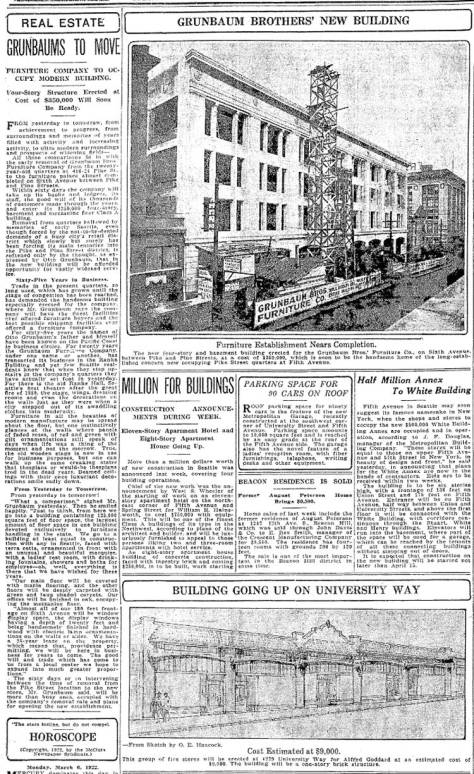 The Seattle Times generous coverage of work-in-progress on Grauman's, March 5, 1922. The subject looks northwest along 6th Avenue from near Pike Street.