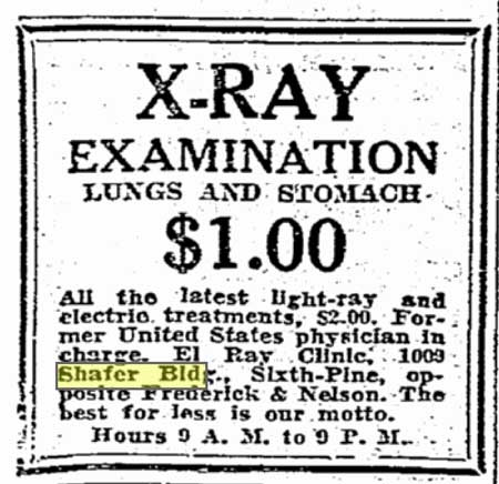 A Shafer Bldg tenant's advertisement from The Seattle Times for July 3, 1928 gives an early sparkle to the fireworks of the next day.