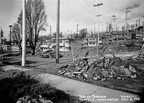 YESLER TERRACE taking shape, Nov. 5, 1941. Note the Smith Tower far left.