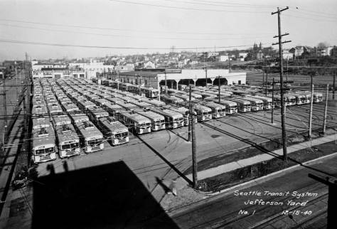 The Jefferson Yard filled with new buses. Photographed for the Seattle Transit System on Dec. 15, 1940.