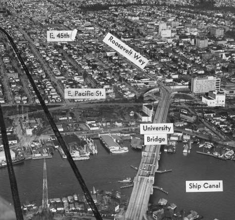 Thanks, again, to Ron Edge for another aerial, this one marked with the line or path of the then planned I-5 Freeway bridge over the Portage between Lake Union (proper) and Portage Bay. Can you - by now - find the underpass on 6th NE, the underpass on Campus Parkway, the Applied Physics Laboratory, and the odd intersection of 7th Ave. NE and NE 40th Street?
