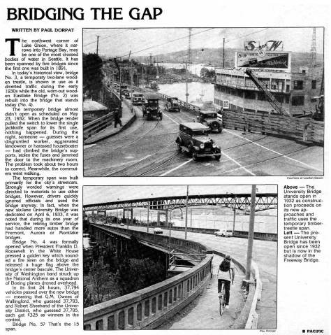 This feature on the University Bridge's temporary span appeared first in Pacific for January 20, 1985.