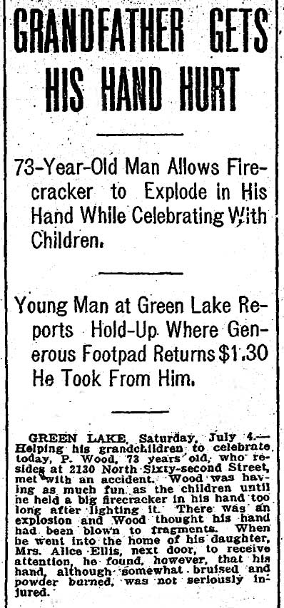 """A new brevity about Grandpa Wood loaded with sensational headers but tailing with a near """"never mind."""" Grandpa was not hurt - so bad. The clip dates from July 5, 1908. (Courtesy The Seattle Times as are most of the local clips used here.)"""