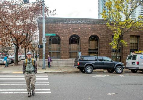 NOW: Crossing Blanchard Street on a green light, historian David B. Williams approaches Jean Sherrard, and his Nikon, for an interview on the upsetting history of Seattle's topography as revealed in Williams's new book, Too High & Too Steep