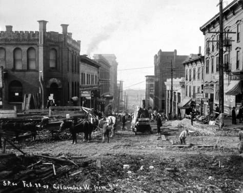 Looking west on Columbia during the 1907 regrade.