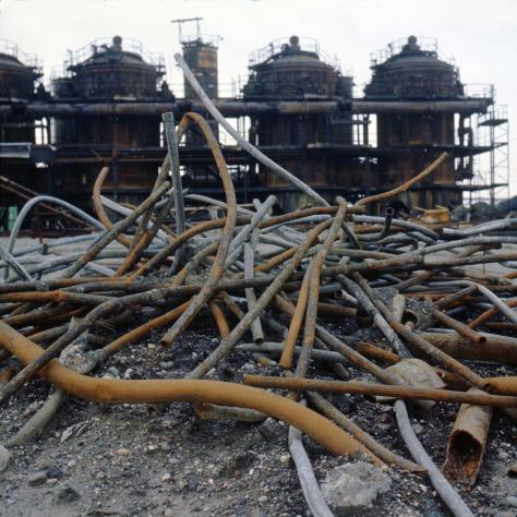 """Pile of pipe at Gasplant Park, Feb. 7, 1974."""