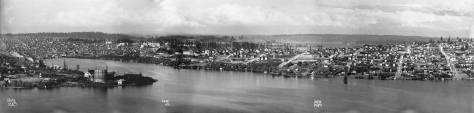 "Around 1980 the Webster and Stevens collection was given to the Museum of History and Industry on a grant from Pemco. The familiar ""W&S"" is hand written onto the corners of many thousands of negatives. I think it is something like forty thousand of them. Here's four of them, joined for a 1910 pan of Lake Union - including the Gas Works, far left - taken from the most northeasterly knoll on the summit of Queen Anne Hill. I used the most northerly negative for a now-then repeat in Pacific on June 12, 1983. It is featured next."
