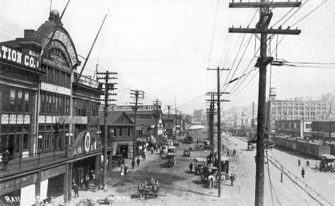 The Grand Trunk Pacific pier ca. 1909 looking north from the Marion Street pedestrian overpass to Colman Dock.