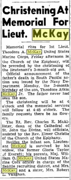 A December 15, 1943 Seattle Times notice of a joined memorial for Lieut Theo McKay, the dealer's son, and the christening of his son's son.