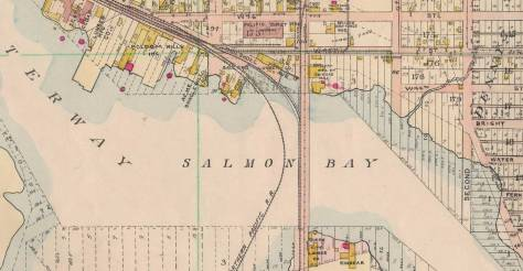 This 1908 Baist map may be compared to the 1912 map printed above. Some of the milll names are different, but the relationship between the curving Great Northern trestle and the 14th Ave wagon and trolley bridge is the same.
