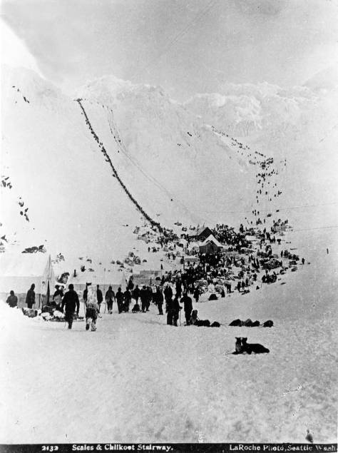 The strange and/or unique Chilkoot Pass, the highest step in the trek from salt water to the Yukon River and its gilded dreams of 1897-8.
