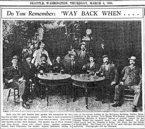 The man sitting far left is identified as Albert Braun in this March 8, 1934 citizen-shared clipping from The Seattle Times.