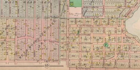 This detail from the 1908 Baist Real Estate map reach from the west short of Green Lake on the right to the Jensen home at the northeast corner of 4th West and West 60th Street at its bottom-left corner.