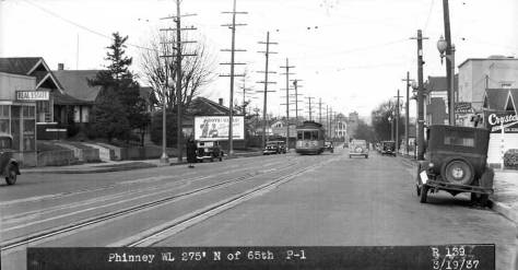 Looking north on Phinney Avenue from 65th Street in 1937.