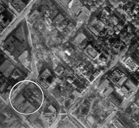 ABOVE: Disregard the superimposed white circle in this 1929 aerial of the neighborhood, except that the three-winged Normandie appears directly to the right of it. BELOW: A 1946 aerial with another look down upon the roof of the Normandie.