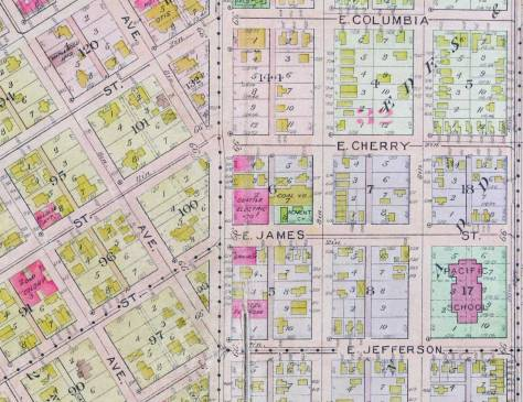 A detail of the intersection lifted from the 1912 Baist real estate map.