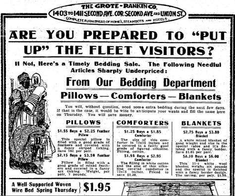Above: The Grote Rankin department store used the Fleet's visit to sell bedding, which the