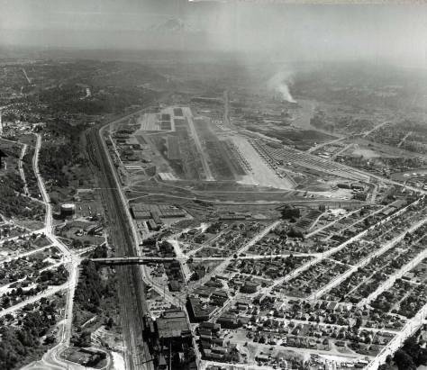 Another MOHAI AERIAL, this one looking south thorugh much of Georgetown (and the landmarks considered above) about a decade before the Seattle-Tacoma freeway - I-5 - pulled and pushed through here. Note the B-52s parked beside the Boeing runway.