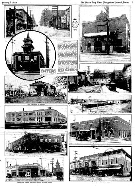Here on January 3, 1926 Georgetown gets its turn in the Seattle Times coverage in the 1920s of our neighborhoods and nearby suburbs.