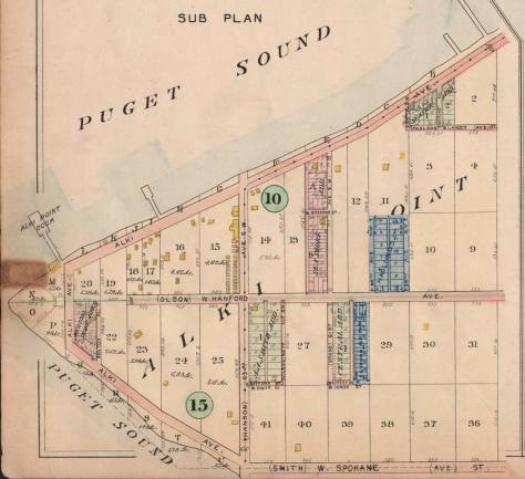 "The intersection of Olson and Hanson seen here near the center of a Alki Point detail lifted from the 1908 Baist Real Estate Map. The two yellow footprints to the right of the circle ""15"", bottom-left, mark - inadequately - the primary structures at Rose Lodge."