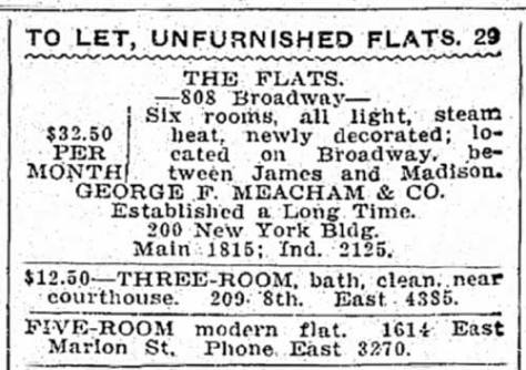 At least by 1908 the year this classified was printed in The Times, the home at 808 Broadway was divided into flats.