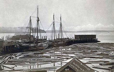 """Yesler's Wharf from the rear of the Peterson and Bros studio at the foot of Cherry Street, upstairs above The Intelligencer offices. """"Someone"""" has dated this 1878."""