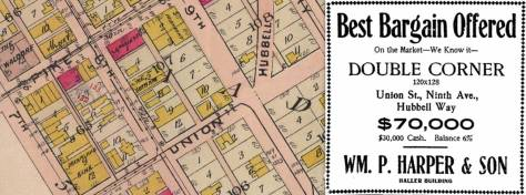 The advertisement we have put to the right of a detail from the 1908 Baist map was print in the Times on April 28, 1907.