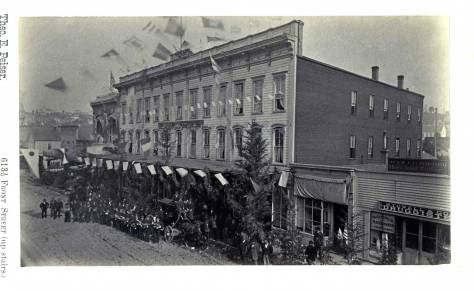 Another print of Villard's Visit used courtesy of the Museum of History & Industry, its McDonald Collection, showing the same unidentified band this time posing in front of the New Brunswick Hotel, aka the Squire Opera House.